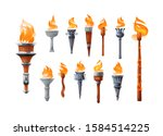 Medieval Torch With Burning...