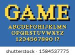 pixel classic serif font with... | Shutterstock .eps vector #1584537775