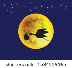 silhouette of stork baby... | Shutterstock .eps vector #1584559165
