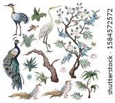 herons  peacock  peonies and... | Shutterstock .eps vector #1584572572