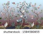 border in chinoiserie style...   Shutterstock .eps vector #1584580855