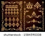 vintage ornament set. vector... | Shutterstock .eps vector #1584590338