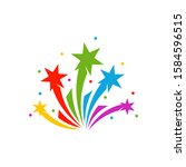 firework line icon and happy... | Shutterstock .eps vector #1584596515