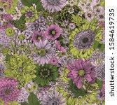 morning in the garden. seamless ... | Shutterstock .eps vector #1584619735
