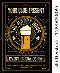 vintage happy hour poster layout | Shutterstock .eps vector #1584620095