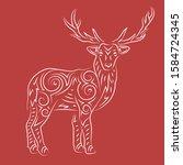 beautiful linear christmas... | Shutterstock .eps vector #1584724345
