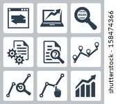 vector data analysis icons set | Shutterstock .eps vector #158474366