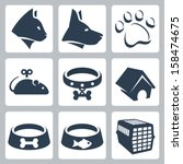 Stock vector vector pet icons set cat dog pawprint mouse collar kennel bowls cage 158474675