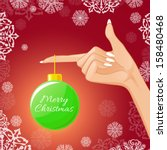 woman hand with christmas ball  ... | Shutterstock .eps vector #158480468