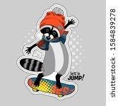 vector raccoon with a... | Shutterstock .eps vector #1584839278