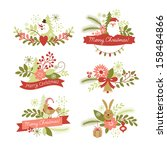 set of christmas and new year... | Shutterstock .eps vector #158484866