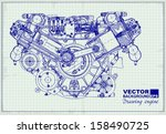 drawing old engine on graph... | Shutterstock .eps vector #158490725