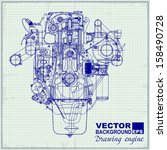 drawing old engine on graph... | Shutterstock .eps vector #158490728
