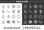 fruit slices line icons set.... | Shutterstock .eps vector #1584985162