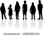 black children silhouettes ... | Shutterstock . vector #1585005142