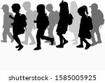 silhouette of a child with a... | Shutterstock . vector #1585005925