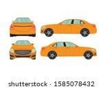 set of orange sedan car view on ... | Shutterstock .eps vector #1585078432