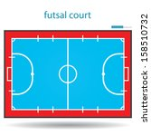 futsal court or field  top view proper markings and proportions according standards. vector.