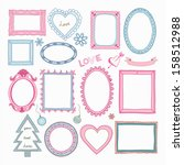 set of doodle frames and other... | Shutterstock .eps vector #158512988