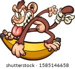 crazy cartoon monkey skating on ... | Shutterstock .eps vector #1585146658