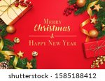 christmas present and pine tree ...   Shutterstock . vector #1585188412