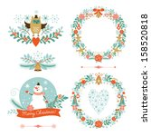 Set of Christmas and New Year graphic elements? holiday symbols - stock vector