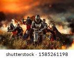 Medieval knights on battle field