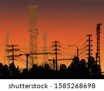illustration with antenna tower ... | Shutterstock .eps vector #1585268698