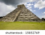 Largest temple at Chichen Itza one of the new seven wonders of the world - stock photo