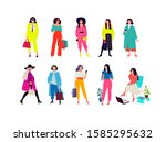 illustration of a young fashion ... | Shutterstock .eps vector #1585295632