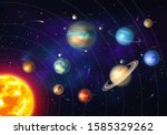 colorful solar system with nine ...   Shutterstock .eps vector #1585329262