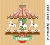 greeting card with carousel... | Shutterstock .eps vector #158541566