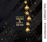 merry christmas dark greeting... | Shutterstock .eps vector #1585427392