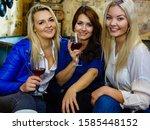 girls best friends drinking... | Shutterstock . vector #1585448152