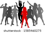 set silhouette woman and man on ... | Shutterstock .eps vector #1585460275