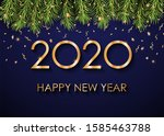2020 happy new year gold text... | Shutterstock . vector #1585463788