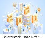2020 happy new year. new... | Shutterstock .eps vector #1585469542