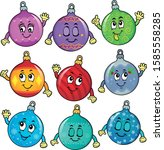 happy christmas ornaments theme ... | Shutterstock .eps vector #1585558285