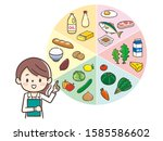 young nutritionist woman and...   Shutterstock .eps vector #1585586602