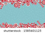 candy cane background. many... | Shutterstock .eps vector #1585601125
