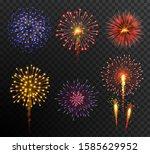 firework. set multy colored new ... | Shutterstock .eps vector #1585629952
