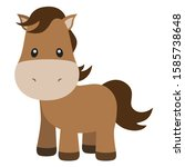 cute horse vector illustration... | Shutterstock .eps vector #1585738648