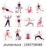 sport people. young athletic... | Shutterstock .eps vector #1585758088