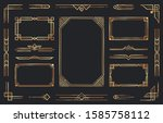 golden art deco ornaments.... | Shutterstock .eps vector #1585758112