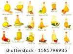 set of isolated nut oil bottles.... | Shutterstock .eps vector #1585796935