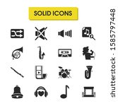 music icons set with bell ...