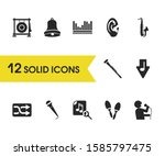 melody icons set with singer ... | Shutterstock . vector #1585797475