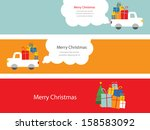 set of 3 christmas cards with santa driving a trank with presents