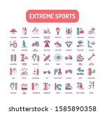 extreme sport color line icons...