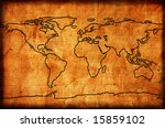aged world map. map backgrounds. | Shutterstock . vector #15859102